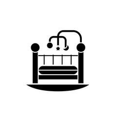 baby bed - crib icon black vector image
