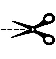 big scissors with cut lines vector image