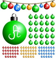 christmas balls alphabet vector image