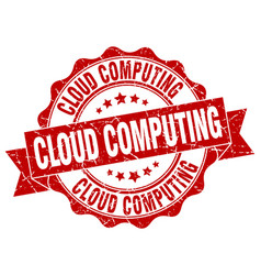 Cloud computing stamp sign seal vector