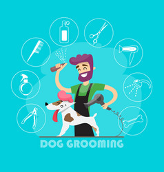 cute dog at groomer salon and set of icons vector image vector image