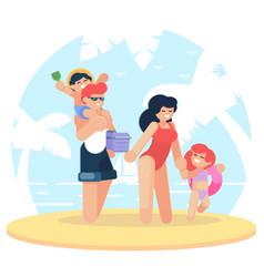 happy family at the beach family having fun at vector image