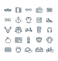 hipster icon black thin line set vector image