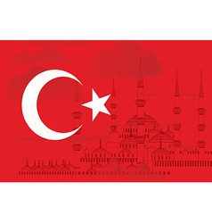 Turkey flag with Blue mosque vector image