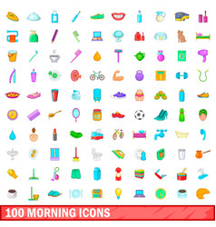 100 morning icons set cartoon style vector image vector image