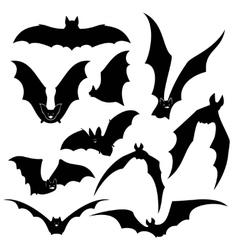 Black bats silhouettes set vector image vector image