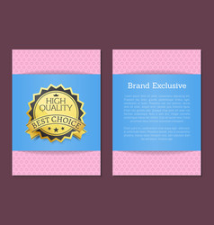 brand exclusive high quality award best choice vector image
