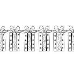 decorative gift boxes black and white vector image