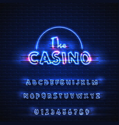 latin neon font casino glowing alphabet electric vector image