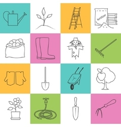 Line Colorful Icons Gardening Equipment vector image vector image