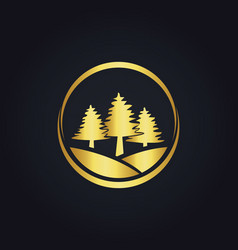 pine tree icon gold logo vector image