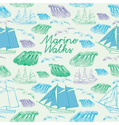 sea voyage seamless background vector image