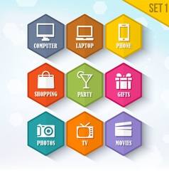 Trendy Rounded Hexagon Icons Set 1 vector image vector image