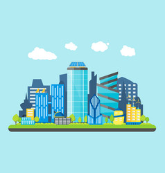 cartoon future city on a landscape background vector image