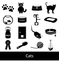cats pets items simple black icons set eps10 vector image vector image