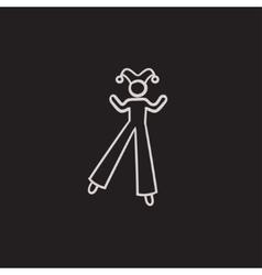 Clown on stilts sketch icon vector image vector image