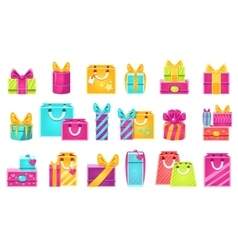Gift Packages Set vector image vector image