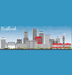 portland skyline with gray buildings and blue sky vector image vector image