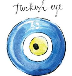watercolor turkish eye vector image