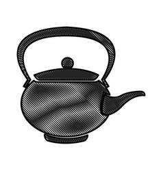 drawing teapot ceramic japanese culture vector image