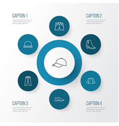 dress outline icons set collection of fedora vector image