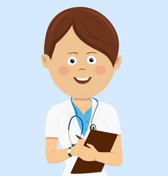 female doctor in uniform with clipboard vector image