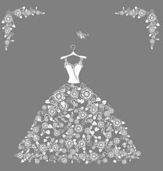 lace wedding dress vector image