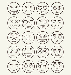 set of outline emoticons emoji isolated on white vector image