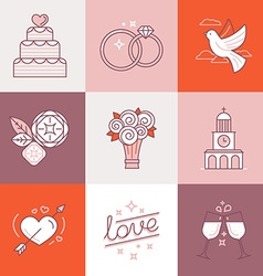Wedding linear icons vector image vector image