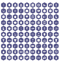100 fitness icons hexagon purple vector