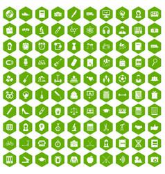 100 hi-school icons hexagon green vector image