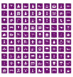 100 winter holidays icons set grunge purple vector image