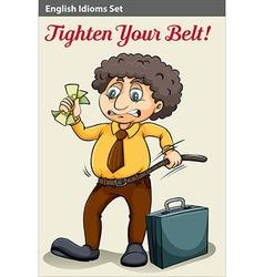 A man tightening his belt vector