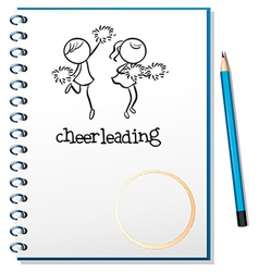 A notebook with a cheerleading design vector