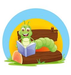 A worm reading a book vector