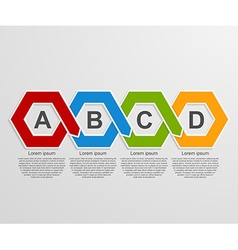 Abstract 3D paper hexagon infographics or timeline vector