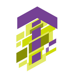 abstract geometric up arrow purple on white vector image
