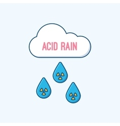 Acid rain and radioactive cloud flat vector image