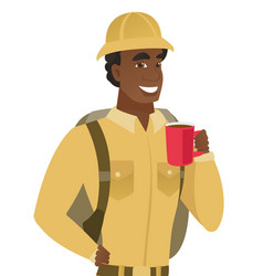 African-american traveler holding cup of coffee vector
