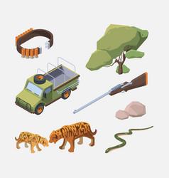 african safari isometric wild animals people vector image