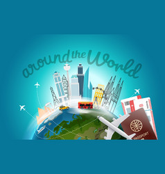 Around the wotld concept with logo travel vector