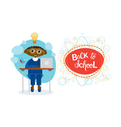 back to school african american pupil boy sitting vector image