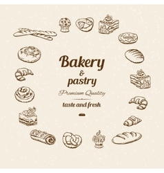 Bakery sketch with text vector image