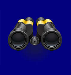 black binocular on a blue background white vector image