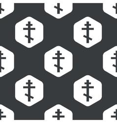 Black hexagon orthodox cross pattern vector