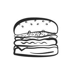 black outline isolated hamburger icon vector image