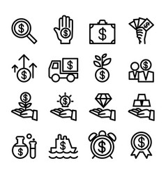 business financial investment icon set vector image