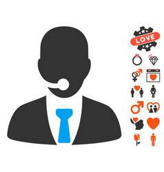 Call center manager icon with dating bonus vector