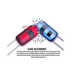 Car accident top view vehicle collision icon over vector