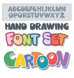 Cartoon font set vector